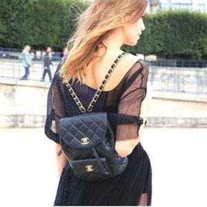 CHANEL Gold Chain Classic Flap Back Pack Bag